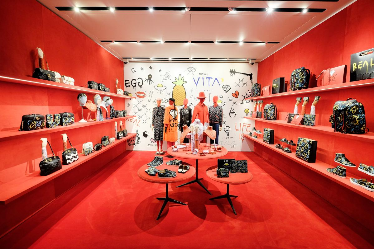 NEW YORK, NY - SEPTEMBER 14:  View of the store during the GucciGhost Global Launch Event on September 14, 2016 in New York City.  (Photo by Dimitrios Kambouris/Getty Images for GUCCI)